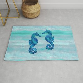 Blue Seahorse Couple Underwater Rug