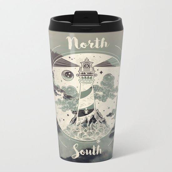 Lighthouse Compass Forest Ocean Metal Travel Mug