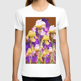 IRIS GARDEN ON CHOCOLATE BROWN T-shirt