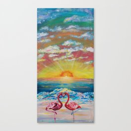 Flamingos in Lovers Delight Canvas Print