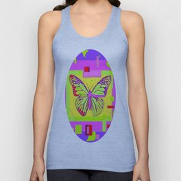 Artistc Colored Fantasy Monarch Butterfly in Lime & Pink Summer Unisex Tank Top
