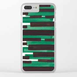 Deep Green Turquoise Primitive Stripes Mid Century Modern Minimalist Watercolor Gouache Painting Col Clear iPhone Case