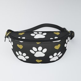 Dog Paws, Traces, Glitter, Hearts - Gold Black Fanny Pack