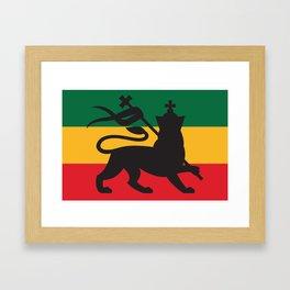 rastafarian flag with the lion of judah (reggae background) Framed Art Print