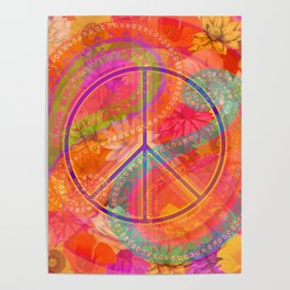 Hippie Chic Paisley Flowers Peace Poster