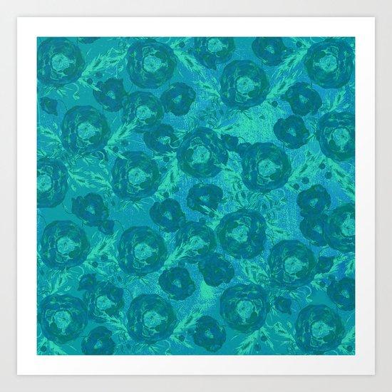 Abstract Poppy Pattern Blue Art Print