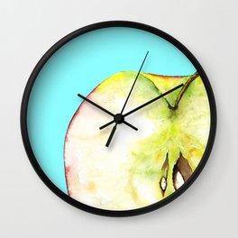 Apple on Aquamarine Wall Clock