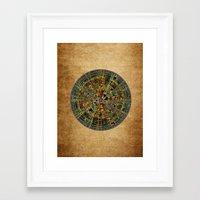 calendar Framed Art Prints featuring Ancient Calendar by Klara Acel