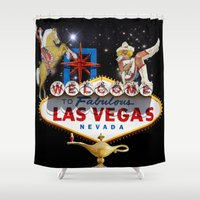 las vegas Shower Curtains featuring Las Vegas Welcome Sign by Gravityx9