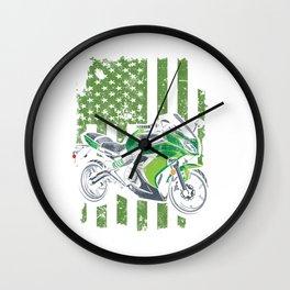 Motocross Dirt Bike Bikers Riders Racers Motorcycle Flag USA Gift Wall Clock