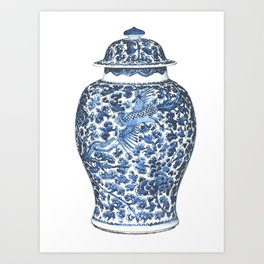 Blue & White Chinoiserie Porcelain Ginger Jar with Flying Phoenix Art Print