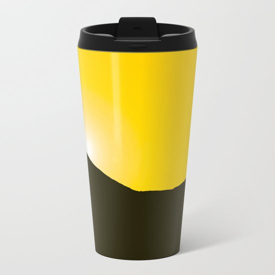 Mountain silhuette - sunrise sky - black rockymountain on yellow background - #Society6 #buyart Metal Travel Mug