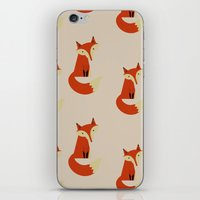 foxes iPhone & iPod Skins featuring Foxes by Zen and Chic