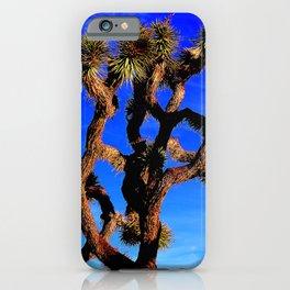 High Desert Joshua Tree in Vibrant Cerulean Blue Sky iPhone Case