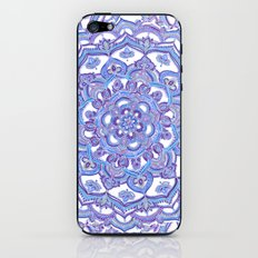 Lilac Spring Mandala - floral doodle pattern in purple & white iPhone & iPod Skin