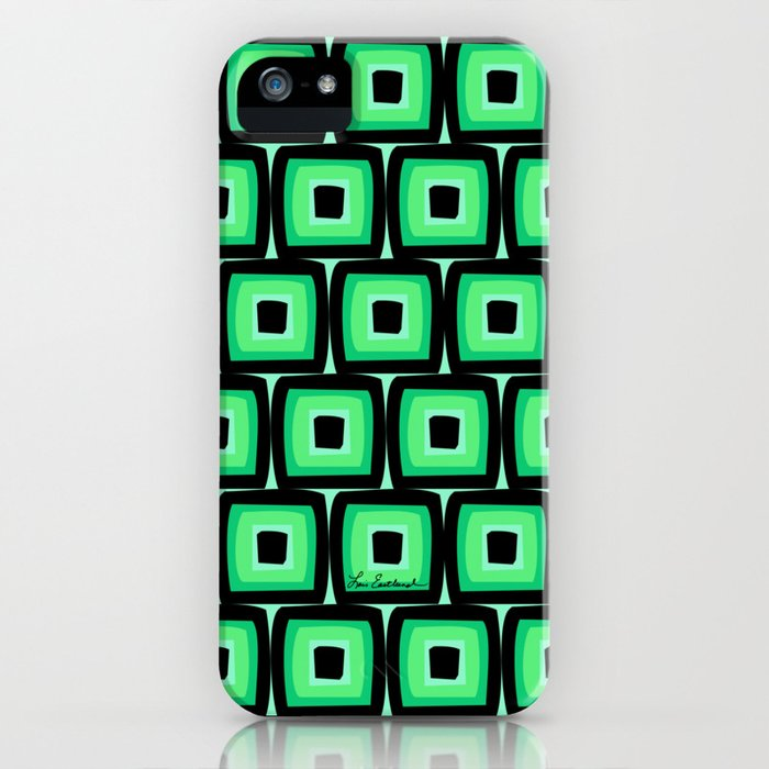 Mod Green Squares iPhone Case