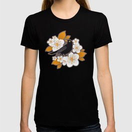 Waiting for the cherries II // Blackbirds brown background T-shirt