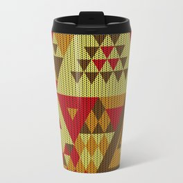 triangles-brown-red-orange-KNIT Travel Mug