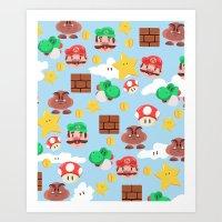 super mario Art Prints featuring Super Mario by Clef