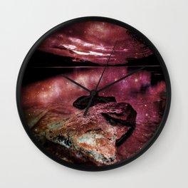 Magical Mountain Lake Burgundy Wall Clock