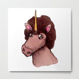 Afro Unicorn Metal Print