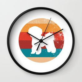 Vintage Bichon Frise Lover Retro Puppy Breed Silhouette Gift Wall Clock