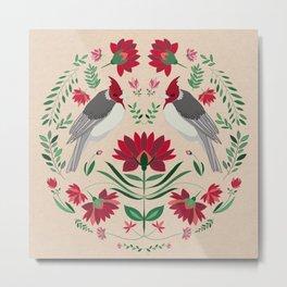 Folk Art Birds || Red flowers and greenery, scandi folk painting Metal Print