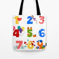 numbers Tote Bags featuring numbers by Alapapaju
