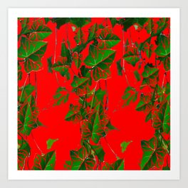 RED ABSTRACTED GREEN IVY HANGING VINES ART Art Print
