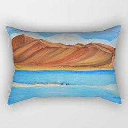 Pangong lake in pastel colours, Landscape painting. Rectangular Pillow
