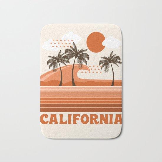 California - retro 70s 1970's sun surfing beach throwback minimal design Bath Mat
