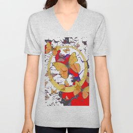 YELLOW  BUTTERFLIES IN WHITE & RED ABSTRACT Unisex V-Neck