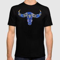 Water Buffalo Skull – Navy & Gold Black Mens Fitted Tee MEDIUM