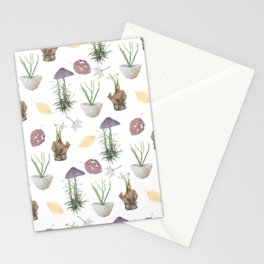 Mushrooms, spurge, horsetail, lily of the valley, leaves. Stationery Cards