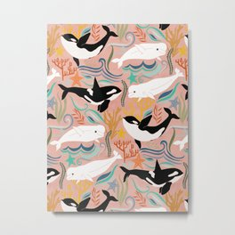 Canadian Whale Watching on Coral Pink Metal Print