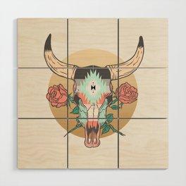 cráneo de vaca Wood Wall Art