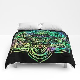Neon Psychedelic Mandala Comforters