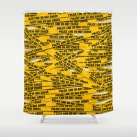 police Shower Curtains featuring Police Line by Vadim Cherniy