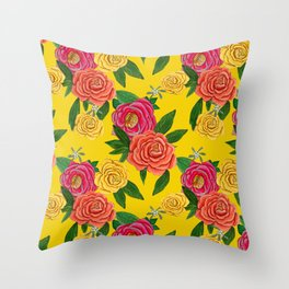 Yellow rose 2020 , romantic rose in pink and coral Throw Pillow