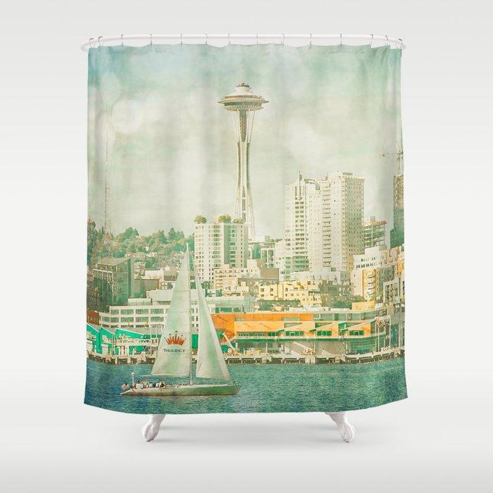 Seattle Skyline Shower Curtain By Sparrowhousephotography