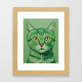 Green Cat Framed Art Print