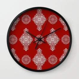 White on Red Pattern Wall Clock