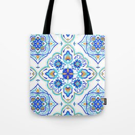 Hand Painted Moroccan Tiles - Aqua and Gold Tote Bag