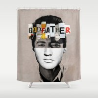 the godfather Shower Curtains featuring Godfather Mix 2 white by Marko Köppe