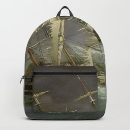 Vintage Destroyed Sailboat During Storm Painting (1859) Backpack