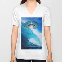 ufo V-neck T-shirts featuring UFO by John Turck