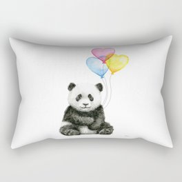 Panda Baby with Heart-Shaped Balloons Whimsical Animals Nursery Decor Rectangular Pillow