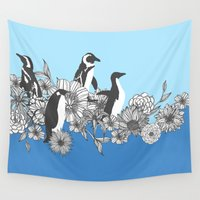 penguins Wall Tapestries featuring Flowers & Penguins by Lydia Meiying