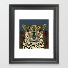 leopard queen blue Framed Art Print