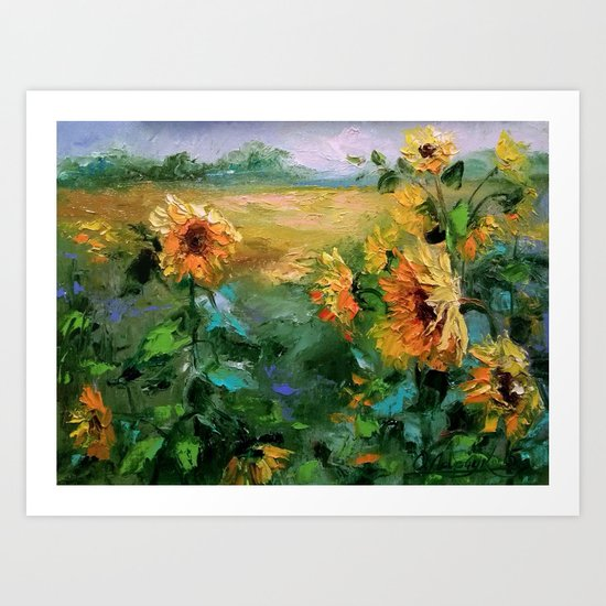 Sunflowers in the wind Art Print